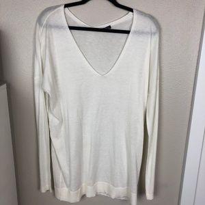 Express White V-neck Oversized Sweater L